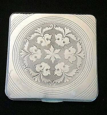 """VTG Sterling Silver COMPACT Powder Mirror UNUSED USA 3.1"""" 3.9ozt 925"""