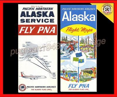 PACIFIC NORTHERN AIRLINES PNA 1965 AIRLINE TIMETABLE SCHEDULE...Plus Brochure