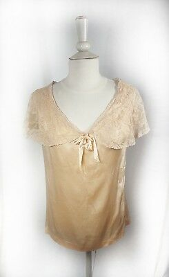 Women's Antique Vintage Lingerie Top Silk Small Handmade Custom England Peach