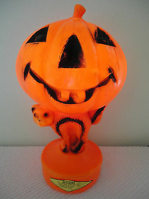 vtg 14 bayshore pumpkin cat jol halloween blow mold light up yard decoration