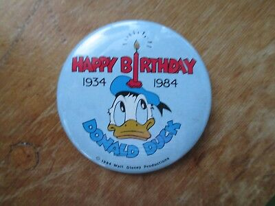 Vintage 1984 Happy 50th Birthday Donald Duck Pinback Button Cute!
