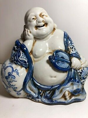 Budda statue  figurine hand paint blue floral design Japan and signed number