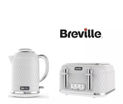 BREVILLE Curve Cube Jug Kettle and 4 Slice Matching Toaster Set White / Chrome