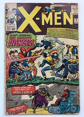 The X-Men #9 Marvel Comics 1965 Avengers Lucifer Vintage