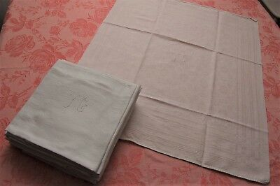 "SET 12 Antique French Linen and Cotton Damask Napkins YC Monogram 25""x28"" WHITE"