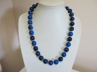 "Vintage 22"" Blue & Black Swirl Beaded Necklace"