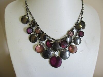 Shades of Purple Bead & Gun Metal Tone Disk 2 Strand Drop Necklace