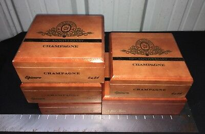 Perdomo Reserve 10th Anniv Champagne Wooden Cigar Boxes! LOT OF 5 Assorted!