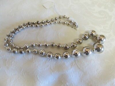 "NWT Korea Shiny Graduated Silver Tone Beaded 24"" Necklace On Wire"