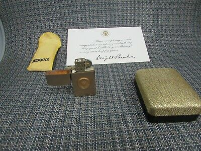Zippo 10k G.F. Slim Line From Dwight Eisenhower Unstruck With Clam Shell Box