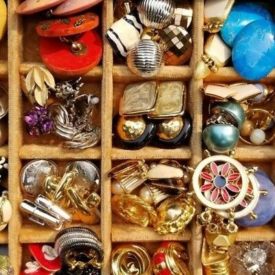 Large Lot of Vintage Earrings. Mostly Clip-on Style. Designers, Signed, Fun!