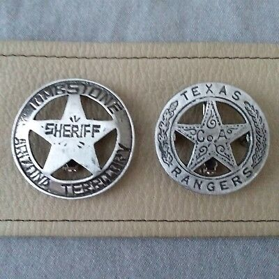 "TOMBSTONE SHERIFF AZ. TERR. and TEXAS RANGER CO. ""A""  (BADGES OF THE  OLD WEST)"