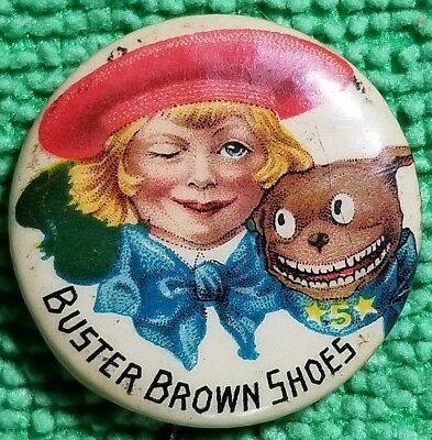 Vintage 1890'S Buster Brown Shoes Advertising Pin Pinback Button Badge