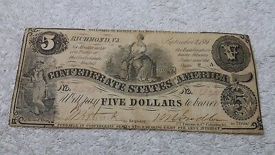 1861 $5 Dollar Bill T-36 Csa Confederate States Currency Civil War Money Note