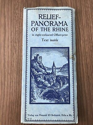 Relief-Panorama of The Rhine Germany Travel Map 1930's Vintage/Original