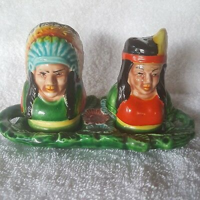 """Vintage 1950's Salt & Pepper Set """" Indian Chief and Squaw"""" **Rare**"""