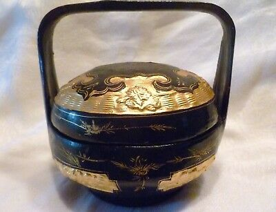 "7"" Antique BLACK LACQUER & GOLD Wicker WEDDING BASKET 1 Layer BAKUL SIAH & Label"
