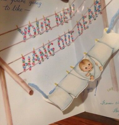 """""""Your New Hang Out Dear"""" Baby Hanging Between Clothesline Unique Artist Card"""