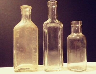 LOT Of 3 Asst. Small Antique Clear Glass Bottles Medicine Apothecary Pharmacy