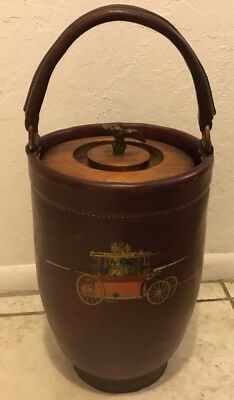 "Vintage Papeete Reproduction Fire Bucket 16"" Tall With Eagle Lid Steerhide"