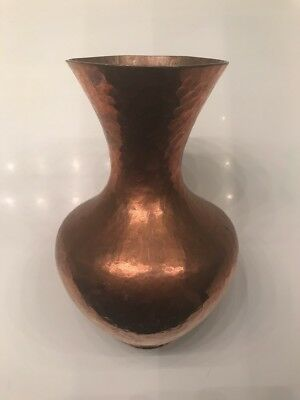 "Hand Hammered 8.50"""" tall Solid Copper Arts & Crafts Mission Style  Vase"
