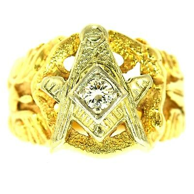 Masonic Diamond Ring Yellow & White Gold Natural Round Brilliant Cut Fine Estate