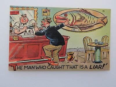 Vintage Postcard Fishing The Man Who Caught That Is A Liar  #7959