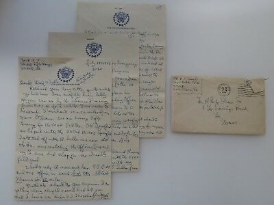 WWII Letter New Orleans Staging Area WW2 Many Battle Stars Pittsfield MA #7905