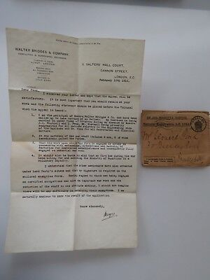 WWI Letter London WW1 On His Majesty's Service National Act 1915 Antique #7892