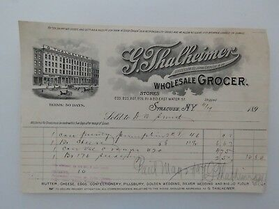 1897 Antique Letter Document G. Thalheimer Wholesale Grocer Syracuse NY #7925