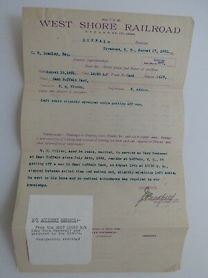 1892 Antique Document West Shore Railroad Personal Injury Report Syracuse #7928