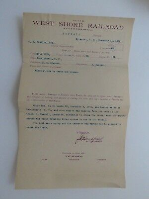 1891 Antique Document West Shore Railroad Personal Injury Report Syracuse #7927