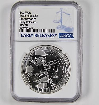 NGC MS70 2018 Niue 1 oz Silver $2 Star Wars 40th Commemorative Early Release
