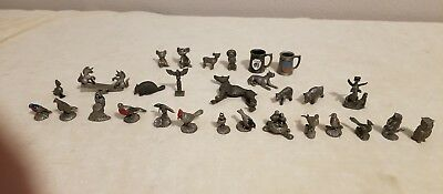 Pewter Miniature Figures Lot of 29 Birds Dogs and More some marked 1980s