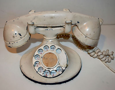 Antique Western Electric WHITE 102 Rotary Dial Desk Telephone