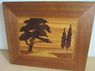 Vintage W.C. Griffith Wood Inlaid Tree Scene Art Wall Picture