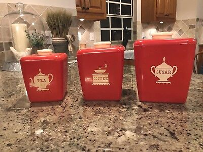Burroughs Red Vintage Canisters