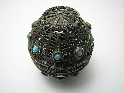 STERLING SILVER SPICE BOX BESAMIM CANDLE HOLDERS FILIGREE TURQUOISE Judaica Rare