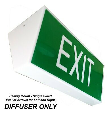 10W Emergency Exit Light DIFFUSER ONLY Ceiling Single Sided Peel off Arrows CM1