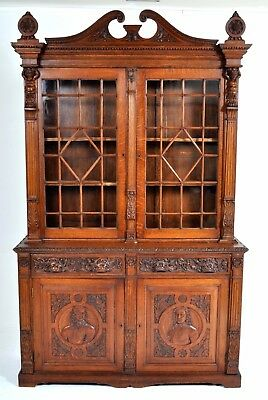 Antique English Civil War carved oak bookcase John Lambert John Hampden 1860