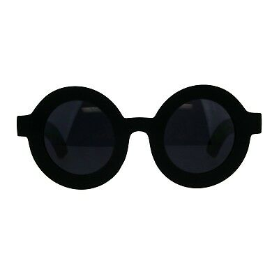 f15cf8844ad Thick Round Sunglasses Womens Beveled Matted Frame Black UV 400