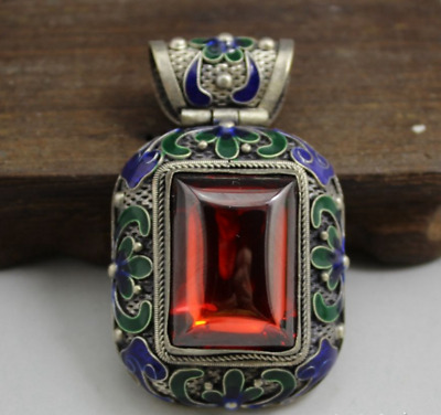 Chinese old exquisite  Delicate Cloisonne Inlaid Red zircon Pendant  b01