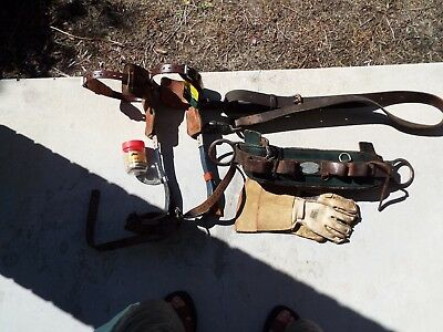 Used Klein utility belt harness w/spikes tree pole gaffs gloves extra lot 38-46