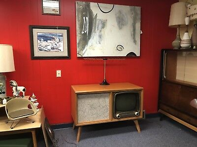 ** Vintage 1950's Mid Century Zenith Television Console Cabinet **  Super Cool !