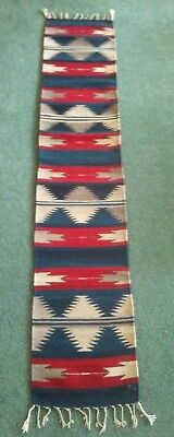 "ZAPOTEC INDIAN RUG, RUNNER, Back Strap Hand Loomed, 82"" by 16"", Wool"