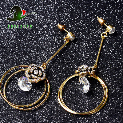 @ A Pair Of  Brass Gilt  Inlaid  White Crystal Earrings E2003-1