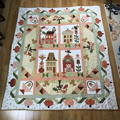 """Hand Made Machine Sewn Squirrel Owl Fall Country Themed Backed Quilt 58"""" X 70"""""""