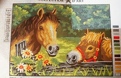 HORSES AT A FENCE - Tapestry/Needlepoint to Stitch (NEW) by COLLECTION D'ART