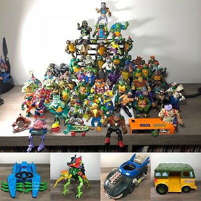 Huge mixed lot of 67 TMNT Action Figures Plus Vehicles!