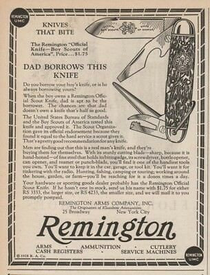 1928 Remington Pocket Boy Scouts of America Knife Dad Borrows This print Ad
